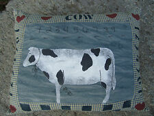 Cow Pillow American Primitive Folk Art numbers hearts signed JB dated 1994