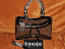 Treesje Asher Satchel Patent Leather/Chocolate Nylon NWT MSRP 495.00 NEW PRICE !