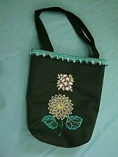 Ladies New Black Tote Bag Embroidered and Lined 14 X 16 With 3 Inch Hard Bottom