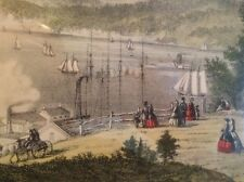 The Hudson At Peekskill Currier & Ives Colored Lithograph Print Glass Framed