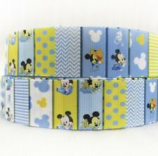By the Yard 1 Inch Printed Mickey Mouse Baby Boy Disney Grosgrain Ribbon...Lisa