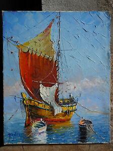 TABLEAU signé Bruzac Peinture huile sur toile HST Marine voilier barques mer top