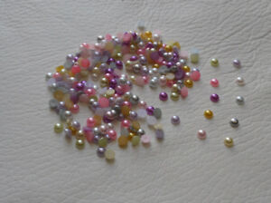 4mm Flat Back Pearls, Embellishments, Mixed, Various Colours, Half Round