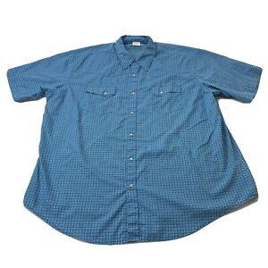 Wrangler Wrancher Mens Short Sleeve Western Pearl Snap Button Up Shirt 2XL XXL
