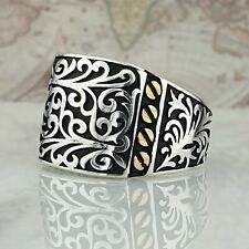Solid 925 Sterling Silver Men Ring Handmade Turkish Ottoman Style 16.60 gr