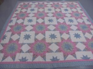 Pretty Pink & Blue Exploding Star & Block w/Frame Quilt