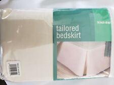 Fresh Ideas Poplin Tailored Queen Bed Skirt Ivory 14 inch Drop length