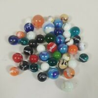Mixed Lot 40+ Assorted Vintage  Colorful Glass Marbles 2 Large