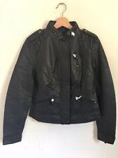 Metersbonwe Ladies Genuine Leather Nappa cropped Jacket coat Full Lined Black