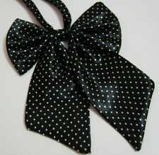 Adjustable pretied bow tie silk satin cravat polka dots women ladies black T12