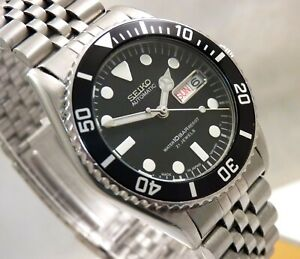 Seiko SKX023 Black Submariner Midsize Day Date Automatic Watch Jubilee 7S26-0050