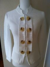 Saks Fifth Avenue Vintage White Chunky Knit Cotton Cardigan Sweater Size Small
