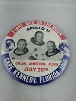 "Apollo 11, First Men on the Moon (1969) 1.75"" Vintage NASA Pin-Back Button"