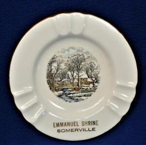 """Signed SABRINA LINE USA 22k Warranted EMMANUEL SHRINE SOMERVILLE 5 3/4""""d Ashtray"""