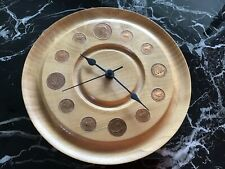 "9"" HANDTURNED ENGLISH WOOD CLOCK WITH COINS"