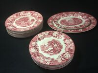 """Vtg WOODSWARE Enoch Woods Red """"English Scenery"""" Large Platters/Plates  ca 1917+"""