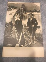 rppc postcard Old Fishing Elderly Couple In Front Of Waterfall