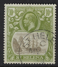 ST HELENA : 1927 GV 10/- grey and olive-green SG112 used