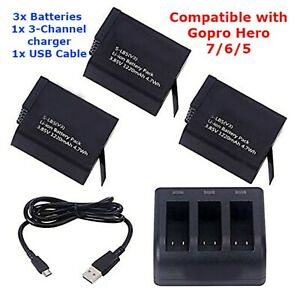 3x1220mAh Battery + 3 Channel Charger Set For GoPro Hero 7 / 6 /5 For GoPro Hero