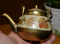 Miniature Brass and Enamel Teapot, Decorative Floral Cloisonne Teapot, Vintage