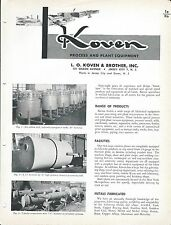 Equipment Brochure - Koven - Process Plant Manufacturing - c1952 (E3318)