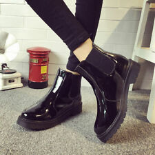 Classic Women's  Rainboots Chelsea Leather Round Toe Shoes  Low Heels Ankle Boot