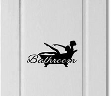 Bathroom Door Sign Wall Silhouette woman showering Decal Vinyl Decor Style