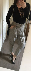 New Look 80Vintage Style SexyHigh Waisted Wide Leg Tweed Trousers Dogtooth Uk 12