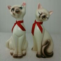 2 Porcelain Cat Figurines Siamese MCM UCGC 9 3/4 In Tall Female Prissy Eyelashes