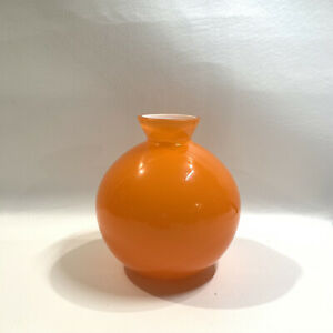 "Crate And Barrel Orange Candy Vase  6.25"" With Tags-Poland"
