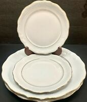 Gibson Houseware China Plate Set of 4 White Gold Rim