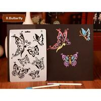 DIY Butterfly Ruler Template Photo Album Hollow Stencils Decor Drawing Tool