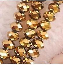 6x4mm, or perles de cristal  en vrac, 98pcs