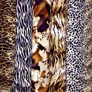 """ANIMAL PRINT VELBOA FAUX FUR VELOUR FABRIC CRAFT MATERIAL 60"""" WIDE M220"""