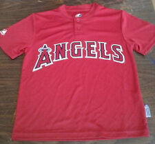 261f20612 NEW ANGELS YOUTH DRI FIT TEAM JERSEY MAJESTIC COOL BASE RED 2-BUTTON NEW