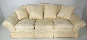 """91"""" Beige Down Filled Damask Silk Upholstered Sofa Couch Loveseat Settee Chaise"""