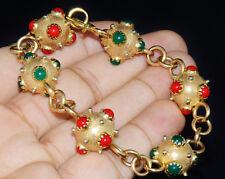 Vintage Etruscan 18K 750 Solid Gold Coral Jade Sputnik Charm Chain Link Bracelet