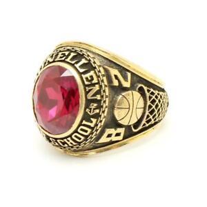 Vintage 1982 10k Gold DUNELLEN NJ High School Class Ring Sz 9 15.3g Red Stone