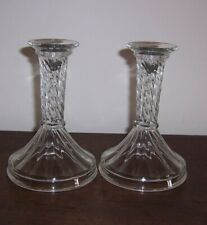 """Pair Glass Candlesticks Candle Holders - Hollow Base - Swirl design - 7/8"""" hole"""