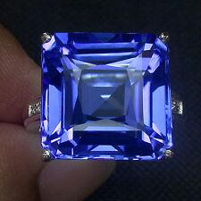 925 Sterling Silver Blue TANZANITE Quarzo 18cts BIANCO ORO PIASTRA Taglia M 1/2