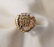 14k yellow gold cadillac symbol ring 3 round brilliant cut diamonds ring size 7