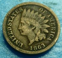 1863  Indian Head Penny Cent  Coin  #D63-2