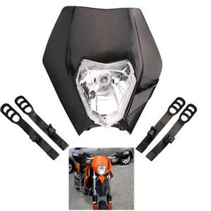 Dirt Streetfighter Pit Bike Headlight Housing Bulb Universal Black Plastic Shell