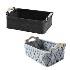 AB_ HB- Wood Handle Felt Home Storage Basket Sundries Books Magazines Organizer