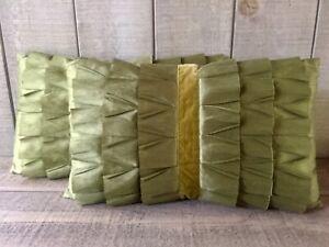 Vintage Raw Silk Velvet Ribbon Pillows Hollywood Regency Mid Century Set/2