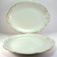 "WH Grindley 520 Oval Platters 12"" Set of 2 White Gold Antique Dish"