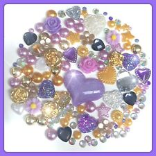 Purple And Gold Cabochons Flatbacks Gems And Pearls For Decoden Crafts Cards