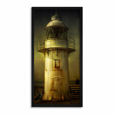 More details for lighthouse old style long panel framed wall art print 12x25 inch