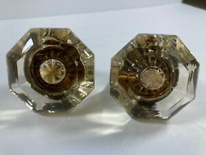 Vintage glass door knobs clear knob 8 point antique large off white pale cream