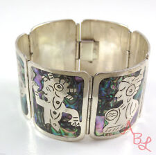 """Abalone Bracelet 8"""" Mexican Southwest .925 Sterling Silver Inlay"""